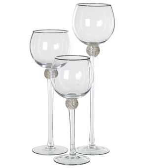 Set of 3 Silver Diamante Candleholders
