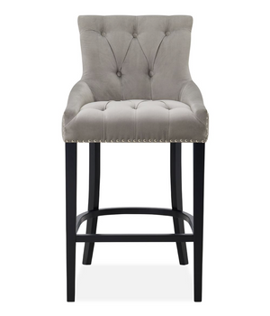 Rio Silver Velvet Studded Bar Stool