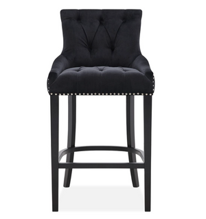 Rio Black Velvet Studded Bar Stool