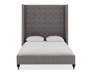 Milan Tall Silver Velvet Bed