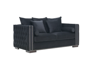 Madrid Velvet 2 Seater Sofa Black