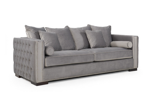 Madrid Velvet 3 Seater Sofa Grey
