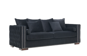 Madrid Velvet 3 Seater Sofa Black