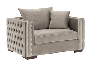 Madrid Velvet Snuggle Sofa Grey