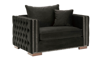 Madrid Velvet Snuggle Sofa Black