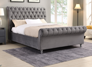London Sleigh Bed Grey