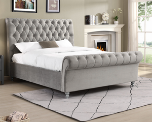 London Sleigh Bed Silver