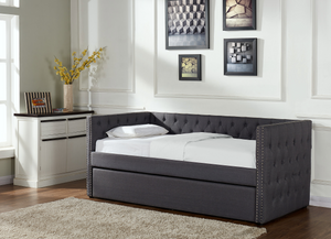 Grey Buttoned Day Bed