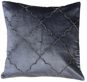 Grey Embellished Morrocan Cushion Cover