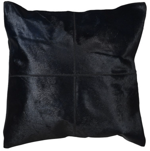 Black Hide Leather Cushion Cover
