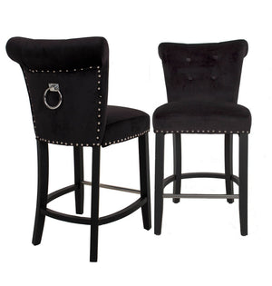 Knocker Back Velvet Bar Stool Black