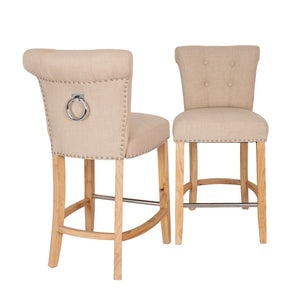 Knocker Back Bar Stool Beige Linen