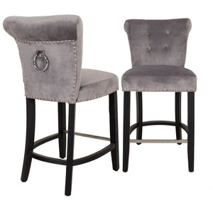 Knocker Back Velvet Bar Stool Silver