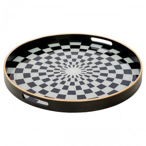 Black Chequers Tray Large