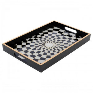 Rectangle Black Chequers Tray Large