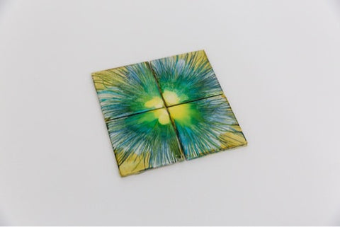 Tan and green coasters (set of 4)