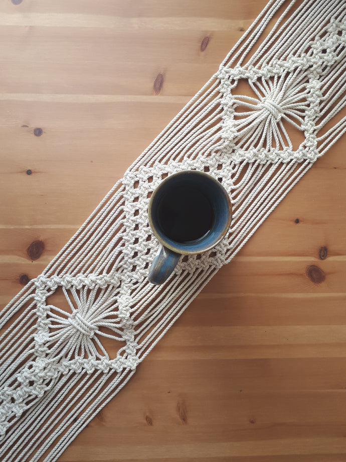 Macrame Table Runner - 3 Diamonds