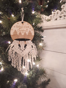 Baby's First Christmas Macrame Ornament