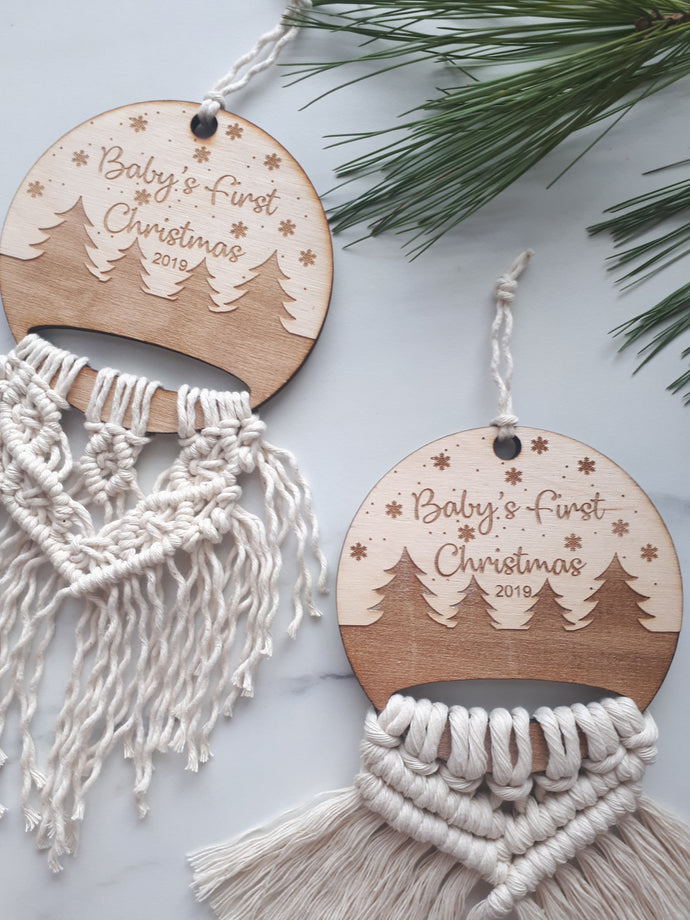 Macrame Baby's First Christmas Ornament