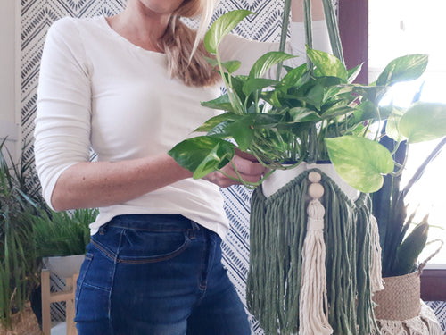 Macrame Plant Hanger - Tassels and Beads