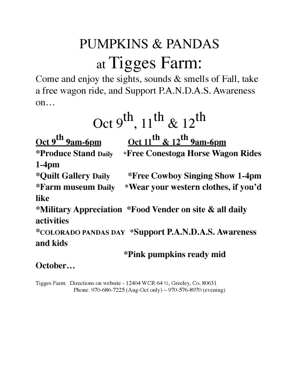 Pumpkins and Pandas 2014 at Tigges Farm