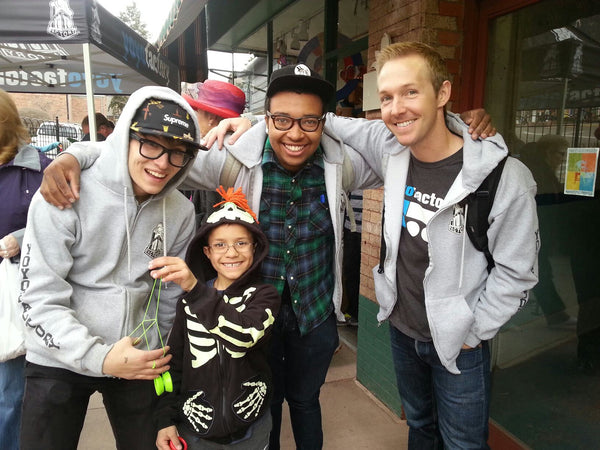 "Tyler, Joe and Patrick from YoYoFactory with ""Little Skeleton"""