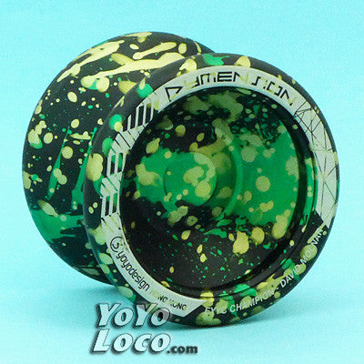 C3 Dymension YoYo, Black w/ Green Splash