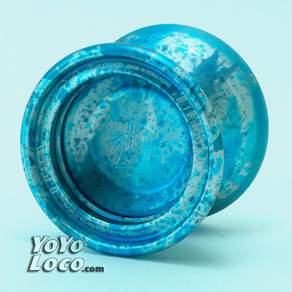 C3 Hobbit Gungnir Yoyo, Blue, Grey and Silver Splash