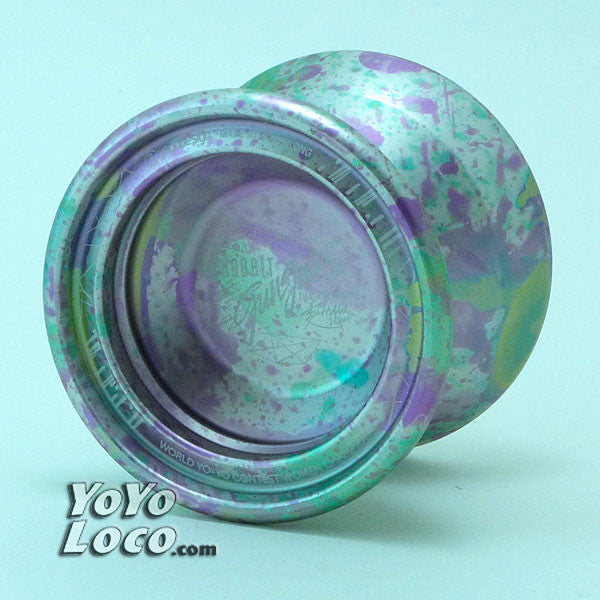 C3 Hobbit Gungnir Yoyo, Silver, Green and Purple Splash