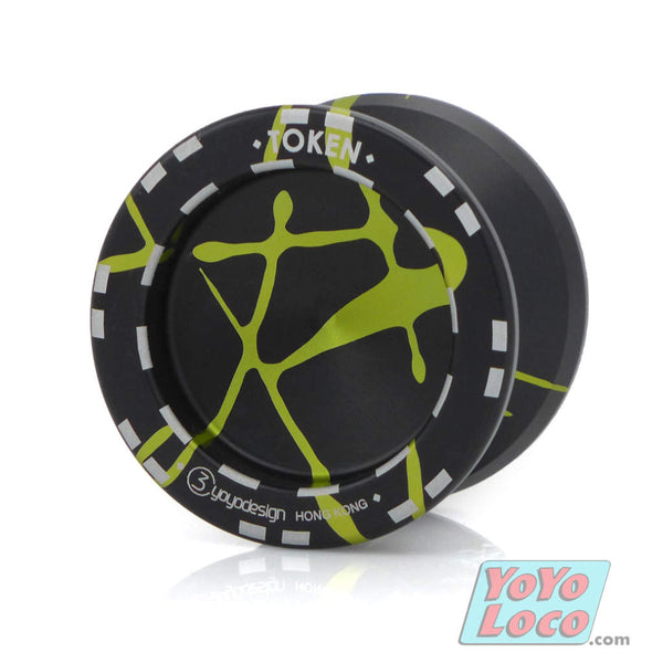 C3yoyodesign Token v.2 YoYo, Black with Yellow Splash