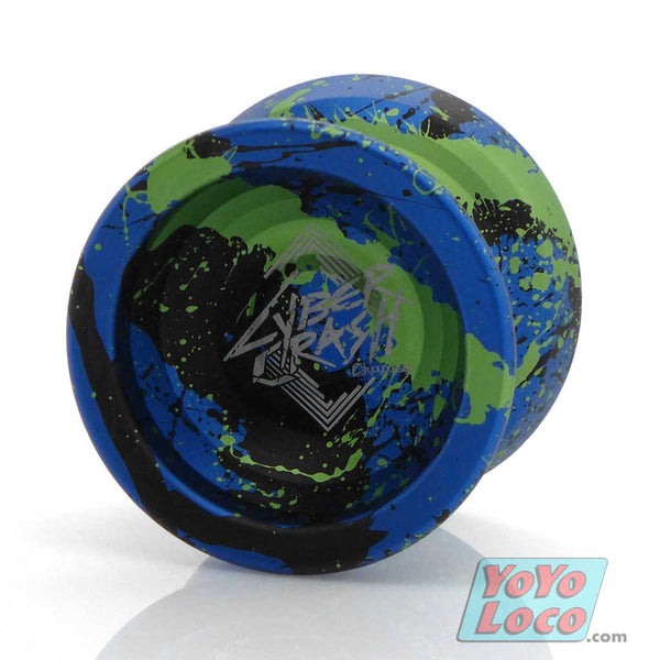 Cyber Crash YoYo by C3yoyodesign, Blue, Green, Black Splash
