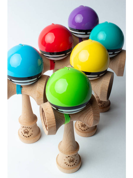 Sweets Boost Radar Kendama group view: blue, red, purple, teal, yellow, green