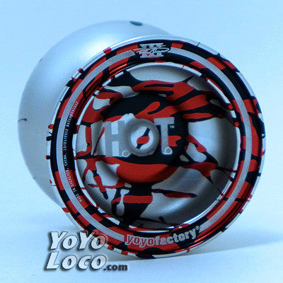 yoyofactory HOT yoyo, Silver with Black and Red splash