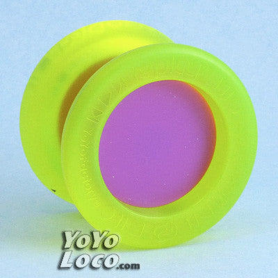 YoYoFactory Replay Pro yo-yo, Edge Glow Yellow with Purple Caps
