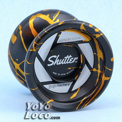 YoYoFactory Shutter Yoyo, Black with Gold Splash