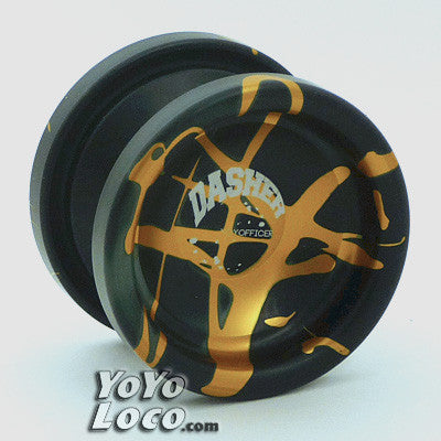 YoYofficer Dasher yoyo, Black/Green w/ Gold Splash