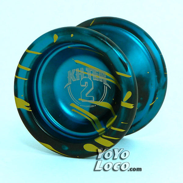 YoYofficer Kilter 2 Yoyo, Blue, Black with Gold Splash