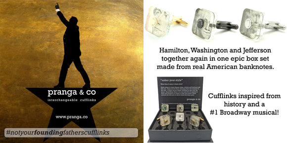 Hamilton, Washington and Jefferson together again in one epic box set made from real American banknotes. Cufflinks inspired from history and a #1 Broadway musical!