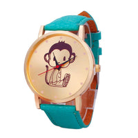 Genvivia Monkey Pattern Leather Band Women Dress Watch 2017 Fashion Cartoon Print Analog Quartz Vogue Wristwatches