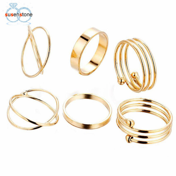 SUSENSTONE 6PCS/Set Fashion Women Lady Ring Jewelry Finger Tip Stacking Rings