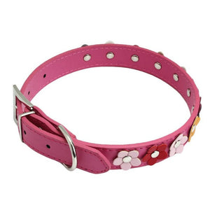 Super Deal Dog Collar  Sweet Flower Studded Puppy Pet Collar Leather Buckle Neck Strap Collars XT
