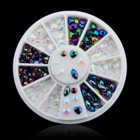 Hot Mix Sizes Nail Art Decorations White Black AB Glitter Nail Rhinestone Pearls Wheel Round Heart Designs Acrylic Flat