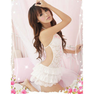 1PC Lingerie Dresses Women Lace Sexy Passion Hollow Out Backless Halter Babydoll G-string  Black White  Female Dress