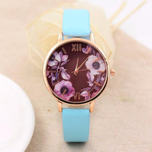Elegant Watch Women 2017 PU Leather Wristwatch For Women Floral Clock Woman Quartz Watch Reloj mujer Montre Female #824