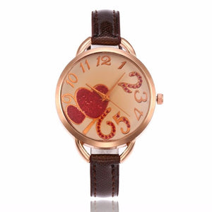 Reloj De Mujer 2017 Fashion Watches Women's Heart Pattern Faux Leather Band Quartz Analog Wrist Watch Watches montre femme #905