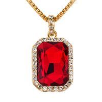 New Mens Faux Red Pendant Necklace 29 Inch Box Chain Hip Hop Jewelry Birthday