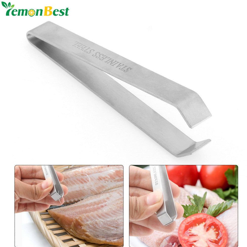 Lemonbest Stainless Steel Fish Bone Remover Pliers Pincer Puller Tweezer Tongs Pick-Up Utensils Kitchen Seafood Tool
