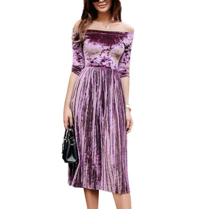 Womens Off Shoulder Velvet  Dress Ladies Evening Party  Loose Dress