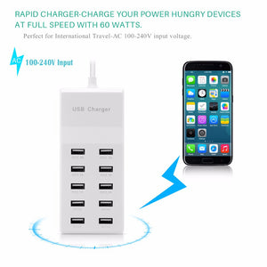 Powstro Quick Charge 5V/10A 10 Ports Fast USB Wall Charger 60W Desktop Mobile Phone Charger Adapter EU Plug For iPhone Samsung