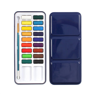 24 Colors Tin Metal Box of Solid Watercolor Paint Set with Brush